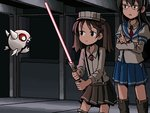 2girls adrian_ferrer brown_eyes brown_hair commentary crossed_arms enemy_aircraft_(kantai_collection) energy_sword english_commentary floating glasses hat holding holding_weapon kantai_collection lightsaber long_hair long_sleeves multiple_girls ooyodo_(kantai_collection) open_mouth parody peaked_cap pleated_skirt ryuujou_(kantai_collection) shadow sharp_teeth shinkaisei-kan skirt star_wars sword teeth twintails weapon
