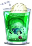 1girl bendy_straw cherry commentary cup drinking_glass drinking_straw food frilled_kimono frills fruit full_body green_kimono head_fins highres ice_cream ice_cream_float in_container in_cup japanese_clothes kimono melon_soda mermaid monster_girl obi outstretched_arms sash shinapuu simple_background solo spread_arms submerged swimming touhou wakasagihime white_background wide_sleeves