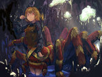 1girl blonde_hair bow cave commentary_request hair_bow insect_girl kaatoso kurodani_yamame looking_at_viewer monster_girl red_eyes short_hair silk solo spider_girl spider_web touhou
