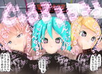 3girls :>= aqua_eyes aqua_hair blonde_hair double_v fellatio hatsune_miku heart heart-shaped_pupils highres kagamine_rin megurine_luka multiple_girls onomatopoeia oral penis pink_hair symbol-shaped_pupils testicles translation_request twintails v vocaloid
