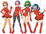 4girls akebi_(pokemon) ankle_boots bara_(pokemon) belt bent_over blue_hair blue_lipstick boots brown_hair correa_(pokemon) gloves green_hair green_lipstick knee_boots lipstick makeup miniskirt momiji_(pokemon) multiple_girls necktie pantyhose pleated_skirt pokemon pokemon_(game) pokemon_xy purple_hair purple_lipstick red_footwear red_gloves red_legwear short_hair shoulder_pads skirt smile team_flare thighhighs tsuru_ringo very_short_hair visor zettai_ryouiki