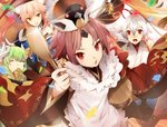 4girls :o ^_^ animal_ears apron bare_shoulders benienma_(fate/grand_order) blue_bow bow bucket closed_eyes covering_mouth fan fan_to_mouth fate/extra fate/grand_order fate_(series) fox_ears green_hair grin hair_bow hat high_ponytail holding holding_bucket holding_spoon horns japanese_clothes kiyohime_(fate/grand_order) long_hair long_sleeves looking_at_viewer multiple_girls no-kan ohitsu open_mouth pink_hair ponytail red_eyes red_hair rice_spoon smile spoon sweat tamamo_(fate)_(all) tamamo_no_mae_(fate) tearing_up tomoe_gozen_(fate/grand_order) twintails white_apron white_hair white_horns wide_sleeves wooden_bucket wooden_spoon yellow_eyes