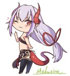 1girl ;) ass bandeau bangs bare_arms bare_shoulders black_legwear character_name chibi commentary_request dragon_girl dragon_horns dragon_tail eyebrows_visible_through_hair eyes_visible_through_hair full_body hair_between_eyes hand_up heart highleg highleg_panties horns ibuki_notsu index_finger_raised lavender_hair long_hair looking_at_viewer low-tied_long_hair melusine_(ibuki_notsu) midriff one_eye_closed original panties pelvic_curtain pointy_ears red_eyes simple_background slit_pupils smile solo standing tail thighhighs thighs tsurime underwear very_long_hair white_background