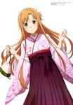 1girl absurdres aqua_inc. artist_name asuna_(sao) brown_eyes brown_hair cherry_blossom_print copyright_name floating_hair hair_between_eyes hakama highres holding japanese_clothes kimono long_hair long_sleeves looking_at_viewer pink_kimono pouch print_kimono purple_hakama simple_background smile solo sword_art_online very_long_hair white_background wide_sleeves