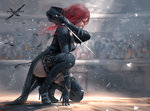 1girl belt_boots black_dress black_footwear black_gloves black_legwear boots colosseum convenient_leg copyright_name dress from_side full_body ghostblade gloves high_heel_boots high_heels one_knee realistic red_eyes red_hair sword thigh_boots thighhighs weapon wlop