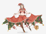 1girl belt blue_eyes boots braid breasts brown_hair christmas christmas_ornaments christmas_tree gift hat highres large_breasts long_hair looking_at_viewer midriff navel santa_hat skirt skirt_lift sky_of_morika smile solo the_elder_scrolls the_elder_scrolls_v:_skyrim