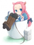 1girl animal_ears braid cup in_container in_cup kubyou_azami long_sleeves minigirl mouse_ears original pantyhose pink_hair single_braid solo sugar_cube tail teacup