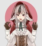 1girl animal_ears black_hair brown_gloves cape commentary_request fire_emblem fire_emblem_fates gloves grey_hair hood hood_up hooded_cape long_sleeves multicolored_hair open_mouth pikapika_hoppe red_eyes simple_background solo streaked_hair upper_body velouria_(fire_emblem) wolf_ears