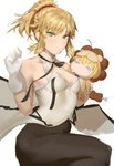 1girl ahoge artoria_pendragon_(all) bare_shoulders black_ribbon blonde_hair blush braid breasts commentary_request cosplay fate/grand_order fate/tiger_colosseum fate/unlimited_codes fate_(series) food gloves green_eyes hair_ornament hair_scrunchie kunaboto long_hair looking_at_viewer medium_breasts mordred_(fate) mordred_(fate)_(all) pantyhose ponytail red_scrunchie ribbon saber_lion scrunchie simple_background solo v-shaped_eyebrows white_background white_gloves