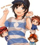 4boys baseball_cap black_eyes black_hair blue_eyes brown_eyes brown_hair calme_(pokemon) chibi commentary copyright_name hat jacket kyouhei_(pokemon) male_focus male_protagonist_(pokemon_sm) multiple_boys pokemon pokemon_(game) pokemon_bw pokemon_bw2 pokemon_sm pokemon_xy shirt shorts simple_background smile sunglasses sunglasses_on_head t-shirt touya_(pokemon) upper_body v visor_cap white_background yo-ten z-ring