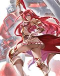 1girl ass bare_shoulders blodia blue_eyes breasts capcom cleavage commentary crossover cyberbots elbow_gloves gauntlets gloves godguard_brodia granblue_fantasy hair_between_eyes hair_ornament large_breasts long_hair looking_at_viewer namesake red_hair skirt solo thighhighs very_long_hair zunta