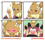 /\/\/\ 4koma absurdres artist_name bench blonde_hair blush brown_eyes closed_eyes comic eevee female_protagonist_(pokemon_go) fingerless_gloves flower gloves grass greenteaneko hair_flower hair_ornament hand_to_own_mouth head_back highres implied_futanari licking one_eye_closed open_mouth phallic_symbol pokemon pokemon_(creature) pokemon_go sexually_suggestive simple_background sitting sweat sweatdrop tongue tongue_out vore watermark web_address weedle white_background wide-eyed