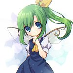 1girl arm_behind_back ascot bangs blue_dress busujima_funya closed_mouth commentary daiyousei dress eyebrows_visible_through_hair fairy_wings green_hair hair_ribbon head_tilt highres long_hair looking_at_viewer puffy_short_sleeves puffy_sleeves ribbon shirt short_sleeves side_ponytail smile solo standing touhou white_shirt wings yellow_neckwear yellow_ribbon