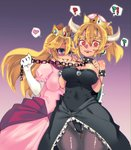 !? 2girls ? @_@ armlet ass_visible_through_thighs bangs bare_shoulders black_leotard black_skirt blonde_hair blue_eyes blush bowsette breast_suppress breasts breasts_apart cameltoe chain cleavage clenched_hands collar commentary_request covered_navel cowboy_shot crown dress earrings elbow_gloves eyebrows_visible_through_hair femdom floating_hair frilled_skirt frills gem gloves gradient gradient_background grey_legwear grin hair_between_eyes hand_up hands_on_own_chest heart high_ponytail highleg highleg_leotard highres hips holding holding_leash horns impossible_clothes impossible_dress jewelry large_breasts leash leotard long_dress long_hair mario_(series) medium_breasts medium_hair mini_crown multiple_girls new_super_mario_bros._u_deluxe nose_blush outline pantyhose pink_dress pointy_ears ponytail princess_peach purple_background purple_sash raised_eyebrows red_eyes ruby_(stone) ryou_homare sapphire_(stone) sash sharp_teeth short_pointy_ears showgirl_skirt sideboob sidelocks sideways_glance skirt smile speech_bubble spiked_armlet spiked_collar spiked_shell spikes spoken_heart spoken_interrobang spoken_question_mark standing strapless strapless_leotard super_crown super_mario_bros. sweatdrop teeth thick_eyebrows thigh_gap thighs turtle_shell white_gloves you_gonna_get_raped yuri