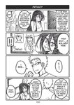 !! ... 2boys 2girls 4koma anger_vein black_hair breasts can comic english_text glasses large_breasts long_hair monochrome multiple_boys multiple_girls news original peach_(momozen) pout refrigerator scar soda_can spiked_hair spoken_ellipsis sweatdrop television