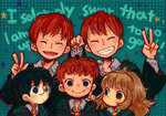1girl 4boys ^_^ black_hair blue_eyes brothers brown_hair closed_eyes english fred_weasley george_weasley glasses green_eyes grin harry_james_potter harry_potter hermione_granger multiple_boys necktie red_hair ron_weasley siblings smile spider star twins v wataori_(ippuku_shimasho)