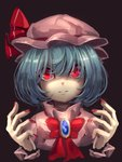 1girl asutora bangs blue_hair bob_cut bow bowtie brooch brown_background commentary dress fingernails hair_between_eyes hands_up hat hat_ribbon jewelry looking_at_viewer mob_cap nail_polish pink_dress pink_hat red_bow red_eyes red_nails red_neckwear red_ribbon remilia_scarlet ribbon short_hair simple_background solo touhou upper_body wrist_cuffs