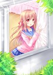 1girl :d bangs bed blue_sailor_collar blue_skirt blush bow brown_hair cardigan commentary_request curtains day eyebrows_visible_through_hair fingernails hair_between_eyes hair_bow hand_up long_hair long_sleeves moe2019 one_side_up open_mouth original outdoors pink_cardigan plaid plaid_skirt pleated_skirt red_bow red_eyes sailor_collar school_uniform serafuku shikito skirt sleeves_past_wrists smile solo very_long_hair window wooden_floor
