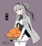 1girl black_headband black_sailor_collar bodysuit character_name clothes_writing commentary_request corset cowboy_shot dated gloves grey_background grey_jacket hachimaki headband jacket kantai_collection long_hair miniskirt nao_(nao_eg) one_side_up pleated_skirt pumpkin sailor_collar silver_hair simple_background skirt smile solo suzutsuki_(kantai_collection) twitter_username white_bodysuit white_gloves white_neckwear white_skirt