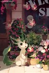 absurdres artist_name bluekomadori blush_stickers door flabebe flower highres leafeon looking_at_another no_humans number on_head open_mouth petals plant pokemon potted_plant red_eyes shop sitting storefront watermark web_address window |_|
