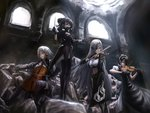 4girls agent_(girls_frontline) alchemist_(girls_frontline) arms_up baton_(instrument) black_dress black_gloves black_hair black_legwear bow_(instrument) breasts brown_eyes cello cishi_nianshao cleavage closed_eyes conductor curly_hair detached_sleeves double_bun dress eyepatch fingerless_gloves gas_mask girls_frontline gloves green_eyes hair_ornament hairclip highres holding hunter_(girls_frontline) instrument large_breasts long_hair long_sleeves maid maid_headdress medium_breasts midriff multiple_girls music playing_instrument rubble sangvis_ferri sangvis_ferri_android_(girls_frontline) scarecrow_(girls_frontline) short_sleeves silver_hair sitting standing straight_hair striped thighhighs twintails violin window yellow_eyes