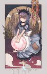 1girl absurdres animal_ears apron black_choker blue_dress blue_footwear blush building buttons cat_ears choker closed_mouth cloud collarbone commentary_request dress frilled_dress frills full_body grey_hair hair_ribbon headdress high_heels highres holding lace_trim leg_up long_hair looking_at_viewer luminous maid maid_apron original red_eyes red_ribbon ribbon shoes short_sleeves solo tree white_apron