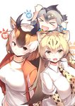 3girls :d >_< absurdres animal_ear_fluff bangs black_hair blonde_hair brown_hair cheetah_(kemono_friends) cheetah_ears cheetah_print collared_shirt commentary elbow_gloves extra_ears eyebrows_visible_through_hair fang gloves gradient_hair greater_roadrunner_(kemono_friends) grey_hair hair_between_eyes highres horizontal_pupils horns jacket japari_symbol kanzakietc kemono_friends long_hair looking_at_viewer multicolored_hair multiple_girls necktie open_mouth orange_eyes print_gloves print_neckwear pronghorn_(kemono_friends) shirt simple_background smile track_jacket v-shaped_eyebrows white_background white_hair white_shirt xd yellow_eyes