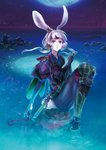 1girl animal_ears blue_eyes bunny_ears bunny_tail dagger force_of_will hairband japanese_clothes long_hair low_twintails moon multicolored multicolored_eyes night official_art purple_eyes rock sitting solo sparkle tail twintails water weapon white_hair