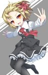 1girl :d bangs black_legwear black_skirt black_vest blonde_hair commentary_request dutch_angle eyebrows_visible_through_hair fang frilled_skirt frills grey_background highres long_sleeves looking_at_viewer no_shoes open_mouth outstretched_arms pantyhose red_eyes rumia shirt skirt smile solo spread_arms touhou two-tone_background uumaru v-shaped_eyebrows vest white_background white_shirt