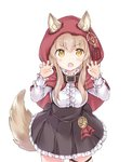 1girl >:o animal_ears capelet claw_pose fang frilled_skirt frills light_brown_hair long_hair long_sleeves original shirt skirt tail wataame27 wolf_ears wolf_tail yellow_eyes