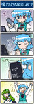 2girls 4koma :< :d arms_up artist_self-insert blue_hair blush_stickers cheering clapping closed_eyes comic detached_sleeves frog_hair_ornament green_hair hair_dryer hair_ornament heterochromia highres juliet_sleeves kochiya_sanae long_sleeves mizuki_hitoshi multiple_girls open_mouth praying puffy_sleeves real_life_insert shirt skirt smile snake_hair_ornament sweat sweatdrop tablet_pc tatara_kogasa touhou translated vest
