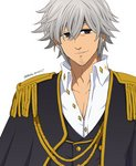 aiguillette alternate_costume artist_name black_eyes collarbone double-breasted epaulettes estarossa facial_hair grey_hair grin hair_between_eyes harumiya high_collar looking_at_viewer nanatsu_no_taizai shirt smile stubble white_background white_shirt