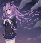 1girl adult_neptune cloud cloudy_sky collarbone commentary commentary_request cowboy_shot crying crying_with_eyes_open d-pad d-pad_hair_ornament evening frown hair_between_eyes hair_ornament hinakurukuru holding_notepad hood hooded_jacket jacket long_hair looking_at_viewer neptune_(series) notepad outdoors purple_eyes purple_hair shin_jigen_game_neptune_vii sky solo tears