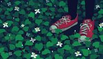 1girl animated animated_gif converse flower leaf lowres original out_of_frame pantyhose pixel_art plant rain red_footwear shoes sneakers solo standing toyoi_yuuta white_flower