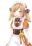 1girl absurdres animare apron bangs blush bow brown_eyes brown_ribbon commentary_request daidai_ookami eyebrows_visible_through_hair frilled_apron frilled_sleeves frills hair_ribbon highres inaba_haneru_(animare) light_brown_hair maid_apron maid_headdress open_mouth orange_bow orange_shirt orange_skirt puffy_short_sleeves puffy_sleeves ribbon shirt short_sleeves simple_background skirt solo translation_request twintails virtual_youtuber white_apron white_background
