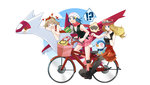 !? 3girls :d backpack bag beanie bicycle bird black_legwear blonde_hair blue_eyes blue_hair blush_stickers boots brown_hair dragon drinking drinking_straw hair_ornament hair_ribbon haruka_(pokemon) haruka_(pokemon)_(remake) hat heart heart-shaped_pupils heart_eyes highres hikari_(pokemon) latias laughing long_hair multiple_girls one_eye_closed open_mouth penguin piplup pleated_skirt pokemon pokemon_(game) pokemon_dppt pokemon_oras pokemon_xy ribbon riding scarf serena_(pokemon) skirt skirt_lift sleeveless sleeveless_shirt smile staring sunglasses sunglasses_on_head symbol-shaped_pupils thighhighs thought_bubble total9 two_side_up