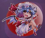 1girl :d >:d alcohol bat_wings blue_hair bow crazy_smile cup hat moon night open_mouth red_eyes red_moon remilia_scarlet ribbon shinapuu short_hair smile solo touhou wine wine_glass wings