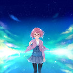 1girl blush cloud glasses highres kuriyama_mirai kyoukai_no_kanata pantyhose pink_hair reaching_out school_uniform short_hair smile solo star_(sky) sweater utakata_(s_sw)