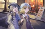 3girls alternate_costume backpack bag black_hair black_headwear blazer blonde_hair bow broom brown_jacket brown_scarf building chair clock closed_eyes fedora frilled_shirt_collar frills grey_coat hair_bow hand_in_pocket hand_up hat hat_bow highres holding holding_broom jacket long_sleeves maribel_hearn misha_(hoongju) mob_cap multiple_girls neck_ribbon open_mouth outdoors parted_lips red_neckwear red_ribbon ribbon road scarf shirt short_hair street table touhou translation_request tree upper_body usami_renko white_bow white_headwear white_shirt yawning yellow_eyes