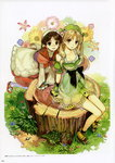 2girls absurdres arm_support atelier_(series) atelier_ayesha ayesha_altugle blonde_hair blush breasts brown_eyes brown_hair cleavage collarbone day dress flower grass green_dress green_eyes hidari_(left_side) highres long_hair looking_at_viewer medium_breasts multiple_girls nio_altugle official_art outdoors page_number parted_lips platform_footwear scan short_hair simple_background sitting sleeveless sleeveless_dress tree_stump very_long_hair white_background white_legwear