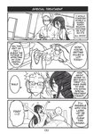 1boy 1girl 4koma bean_bag_chair black_hair blush breasts chips comic cup english_text food game_console glasses headset jitome large_breasts long_hair monochrome original peach_(momozen) playstation_2 poster_(object) scar spiked_hair television video_game wrist_cutting