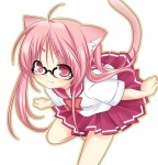 1girl animal_ears cat_ears copyright_request glasses pink_hair school_uniform shiratama_yomogi solo tail