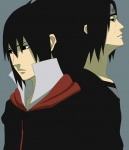 2boys back-to-back black_hair closed_eyes grey_background headband highres koujikoujikouji logo long_hair multiple_boys naruto simple_background uchiha_itachi uchiha_sasuke