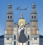 1girl arm_behind_back bangs bc_freedom_school_uniform black_neckwear black_skirt black_vest blonde_hair blue_eyes blue_sky blurry blurry_background building clear_sky closed_mouth cover cover_page day depth_of_field dress dress_shirt eyebrows_visible_through_hair girls_und_panzer half-closed_eyes hand_on_own_chest head_tilt highres location_request long_sleeves looking_at_viewer medium_hair messy_hair miniskirt necktie oshida_(girls_und_panzer) outdoors pinafore_dress pleated_skirt scatter school_uniform shirt skirt sky smile solo standing tearing_up vest white_shirt wind wing_collar