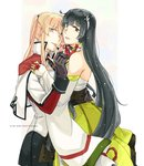 2girls black_gloves black_hair blonde_hair border bridal_gauntlets capelet celtic_knot commentary cross detached_sleeves dress furisode gloves graf_zeppelin_(kantai_collection) green_dress green_eyes grey_eyes hair_between_eyes hair_ribbon hair_tubes hakama heart hug iron_cross jacket japanese_clothes kantai_collection kimono letterboxed long_hair low-tied_long_hair miko military military_uniform miniskirt mizuho_(kantai_collection) multicolored multicolored_background multiple_girls necktie obi ribbon sash sidelocks skirt tsurime twintails uniform very_long_hair weidashming white_border yuri