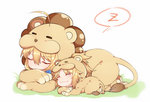 2girls :3 ^_^ animal_costume animal_print bangs blonde_hair chibi closed_eyes closed_mouth commentary_request eyebrows_visible_through_hair fate/apocrypha fate/grand_order fate/stay_night fate_(series) hair_between_eyes lying multiple_girls on_stomach saber saber_lion saber_of_red sidelocks sleeping speech_bubble tiger_costume tiger_print yorukun zzz