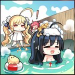! 3girls ahoge azur_lane bangs bird black_border black_hair blonde_hair blue_sky blush border breasts chibi chick cleavage closed_eyes cloud cloudy_sky day directional_arrow eldridge_(azur_lane) electricity eyebrows_visible_through_hair fence hair_between_eyes hair_ornament innertube large_breasts long_hair manjuu_(azur_lane) motion_lines multiple_girls naked_towel no_nose nose_blush onsen open_mouth outdoors parted_lips partially_submerged phandit_thirathon relaxed san_diego_(azur_lane) screencap sky smile standing steam taihou_(azur_lane) third-party_edit towel towel_on_head twintails very_long_hair water white_towel windowboxed wooden_fence