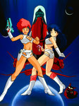 2girls 80s blue_hair boots breasts cleavage dark_skin dirty_pair gloves gun handgun headband highres holding holding_gun holding_weapon holster kei_(dirty_pair) long_hair looking_at_viewer multiple_girls oldschool one_eye_closed open_mouth plant red_hair short_hair single_glove smile space_craft takachiho_haruka weapon white_gloves yuri_(dirty_pair)