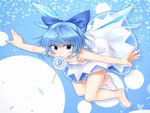 (9) 1girl alternate_costume bangs bare_arms bare_legs bare_shoulders barefoot blue_bow blue_eyes blue_hair bow candy cirno commentary_request downblouse dress eyebrows_visible_through_hair eyes_visible_through_hair feet_up floating food full_body hair_bow highres ice ice_wings leaning_forward lollipop looking_at_viewer m9kndi mouth_hold nail_polish outstretched_arms short_hair sleeveless sleeveless_dress solo spread_arms toes touhou wings