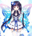 1girl :o animal_print arm_at_side bangs black_bow black_hair blue_bow blue_ribbon blue_wings blush bow breasts butterfly_print butterfly_wings cleavage cleavage_cutout commentary_request cowboy_shot cross-laced_clothes dress elbow_gloves eyebrows_visible_through_hair flower gloves hair_bow hair_flower hair_ornament holding holding_hair lace lace-trimmed_thighhighs large_breasts long_hair looking_at_viewer open_mouth original parted_lips pearl print_dress ribbon see-through short_sleeves solo thighhighs tougetsu_hajime twintails very_long_hair white_dress white_flower white_gloves white_legwear wings yellow_eyes zettai_ryouiki